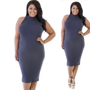 Dresses & Skirts - Navy Tube Midi Dress (Plus Size)